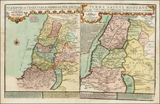 Holy Land Map By Nicolas de Fer / Guillaume Danet