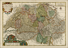 Switzerland Map By Nicolas de Fer / Louis Charles Desnos