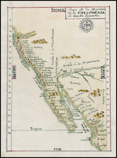 Mexico, Baja California and California Map By Anonymous