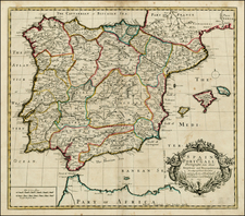 Spain and Portugal Map By John Senex