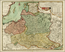 Poland, Russia, Ukraine and Baltic Countries Map By Nicolas de Fer / Louis Charles Desnos