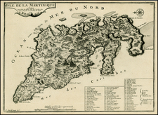 Caribbean, Other Islands and Martinique Map By Nicolas de Fer