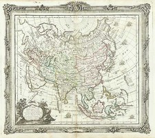 Asia and Asia Map By Louis Brion de la Tour