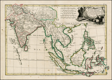 India, Southeast Asia and Philippines Map By Jean Lattré