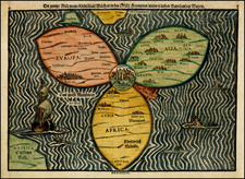 World, World, Holy Land and Curiosities Map By Heinrich Buenting
