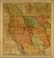 Texas, Plains, Southwest, Rocky Mountains and California Map By Samuel Augustus Mitchell