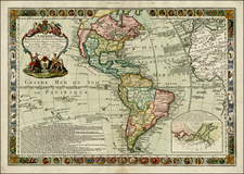 South America and America Map By Louis Charles Desnos / Guillaume Danet