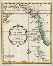 India and Middle East Map By Jacques Nicolas Bellin