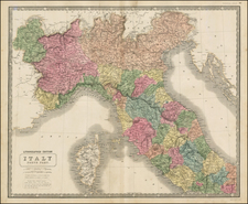 Italy and Balearic Islands Map By W. & A.K. Johnston