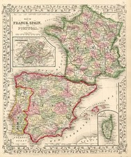 France, Spain and Portugal Map By Samuel Augustus Mitchell Jr.