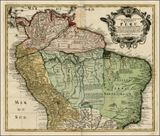 South America and Brazil Map By Homann Heirs