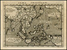 Alaska, China, Japan, Korea, India, Southeast Asia and Australia Map By Giovanni Antonio Magini
