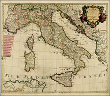 Italy and Balearic Islands Map By Pierre Husson