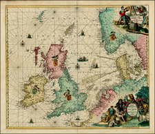 British Isles, Netherlands, Germany and Scandinavia Map By Louis Renard