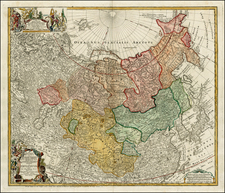 China, Central Asia & Caucasus and Russia in Asia Map By Homann Heirs / Johann Matthaus Haas