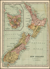 New Zealand Map By T. Ellwood Zell