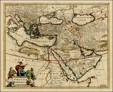 Greece, Turkey, Mediterranean, Middle East and Turkey & Asia Minor Map By Frederick De Wit