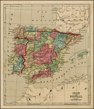 Spain and Portugal Map By Charles Morse