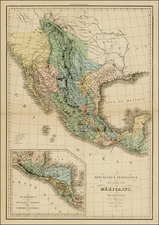 Texas, Plains, Southwest, Rocky Mountains, Baja California and California Map By Adolphe Hippolyte Dufour