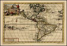 Western Hemisphere, South America, Oceania and America Map By Pieter van der Aa