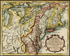 New England, Mid-Atlantic and Midwest Map By Jean-Baptiste Nolin