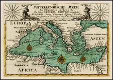 Mediterranean Map By Christian Friedrich von der Heiden