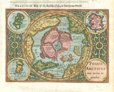 World, Northern Hemisphere, Polar Maps and Alaska Map By Jodocus Hondius / Samuel Purchas