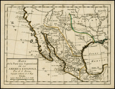 Texas, Plains, Southwest, Rocky Mountains, Mexico, Baja California and California Map By Anonymous
