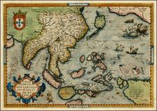 Alaska, Japan, India, Southeast Asia, Philippines, Australia & Oceania, Australia, Oceania and California Map By Abraham Ortelius
