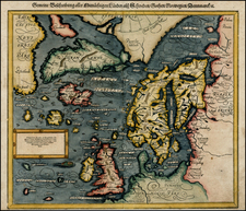 Atlantic Ocean, Canada, Baltic Countries, Scandinavia, Iceland and Balearic Islands Map By Sebastian Münster