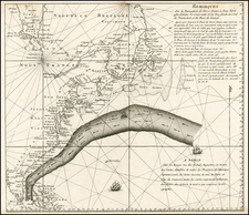 Atlantic Ocean, United States, New England, Mid-Atlantic, Florida, Southeast and North America Map By George Louis Le Rouge / Timothy Folger