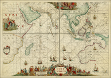 Indian Ocean, China, India, Southeast Asia, Philippines, Other Islands, Central Asia & Caucasus, Middle East, Africa, South Africa, East Africa, Australia & Oceania, Australia, Oceania and Other Pacific Islands Map By Johannes Van Keulen