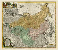 Asia, China, Japan, Korea, India, Other Islands, Central Asia & Caucasus and Russia in Asia Map By Homann Heirs / Johann Matthaus Haas
