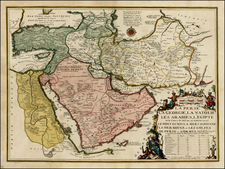 Central Asia & Caucasus, Middle East, Turkey & Asia Minor and Egypt Map By Nicolas de Fer / Guillaume Danet
