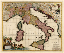 Italy and Balearic Islands Map By Nicolaes Visscher I