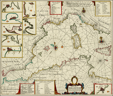 Italy, Spain, Mediterranean, Balearic Islands and North Africa Map By Hendrick Doncker