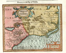 Mid-Atlantic and Southeast Map By Jodocus Hondius / Samuel Purchas