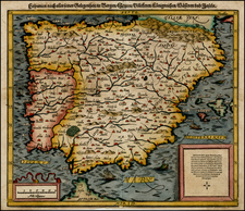 Spain and Portugal Map By Sebastian Münster