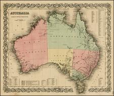 Australia Map By Joseph Hutchins Colton