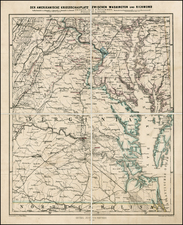 Maryland, Virginia and Civil War Map By Augustus Herman Petermann
