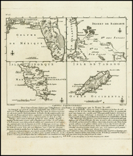 Florida, Caribbean, Spain, Balearic Islands and West Africa Map By Francois Godefroy