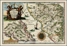 Mexico, Baja California and California Map By Heinrich Scherer