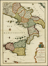 Italy and Balearic Islands Map By Nicolas de Fer / Guillaume Danet