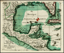 Florida, Mexico and Central America Map By Christian Friedrich von der Heiden