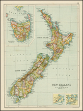 Australia and New Zealand Map By John Bartholomew