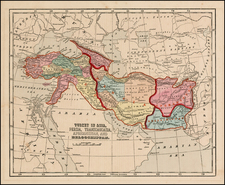 Central Asia & Caucasus, Middle East and Turkey & Asia Minor Map By Sidney Morse