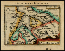 Austria Map By Abraham Ortelius / Johannes Baptista Vrients