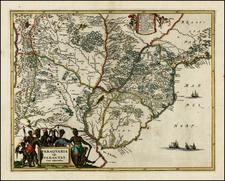 Brazil, Paraguay & Bolivia and Uruguay Map By John Ogilby