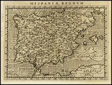 Spain and Portugal Map By Giovanni Antonio Magini