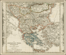 Balkans, Greece and Turkey Map By Justus Perthes